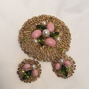 Vintage Sarah Coventry  Brooch & Clip Earrings